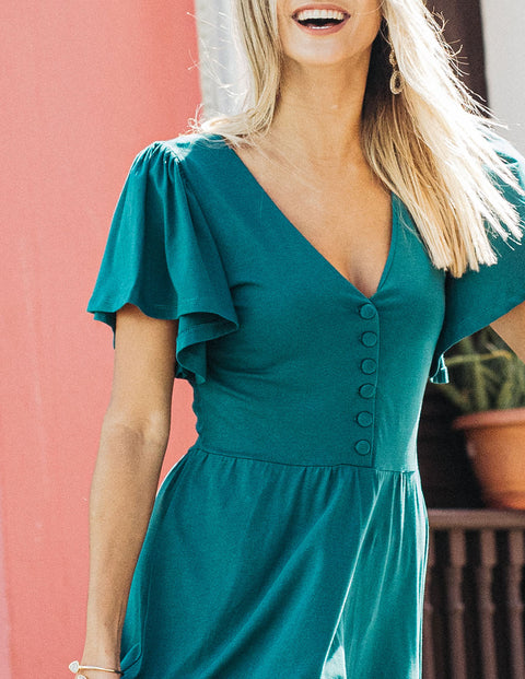 The SYDNEY button front prairie midi dress in Emerald