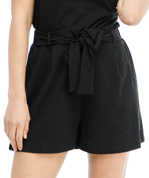 LOGAN tie-front short in Black