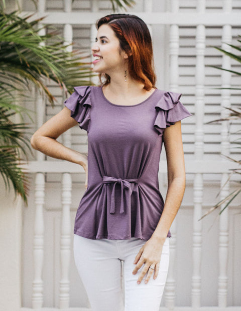 The MAGGIE double ruffle tie-front tank in Vintage Violet