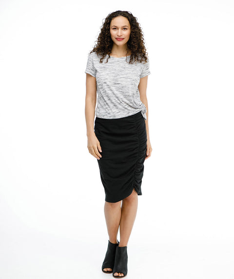 AMIRA ruched pencil skirt in Black