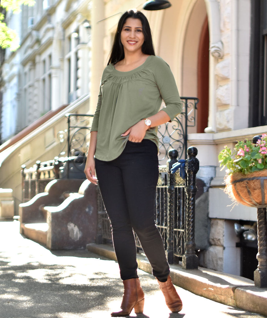 EMBER ruched tee in Olive