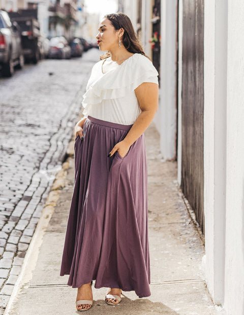 The LEIGH maxi gathered skirt in Vintage Violet