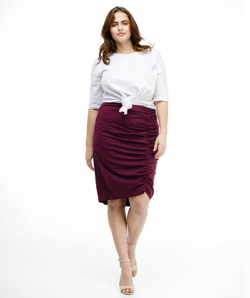 AMIRA ruched skirt in Deep Currant