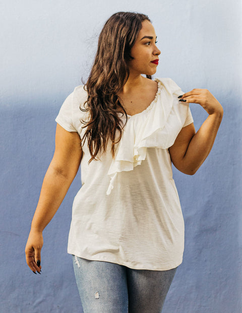 The KELSEY double ruffle slub jersey tee in Casa Blanca