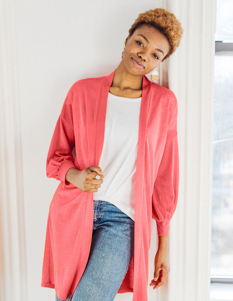 WREN lightweight duster in Coral
