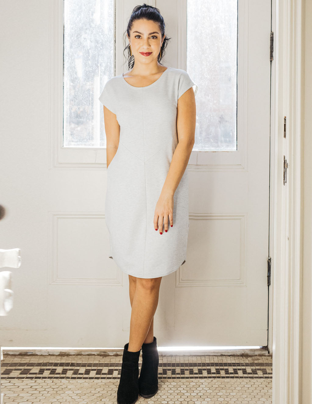 THEA french terry dress in Dove