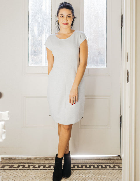 The THEA french terry sheath dress in Dove Heather