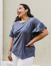 The KARA flutter sleeve relaxed top in Anchor Grey