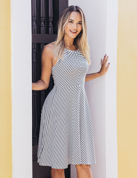The MARIAH adjustable fit-and-flare stripe dress in Off-White/Black