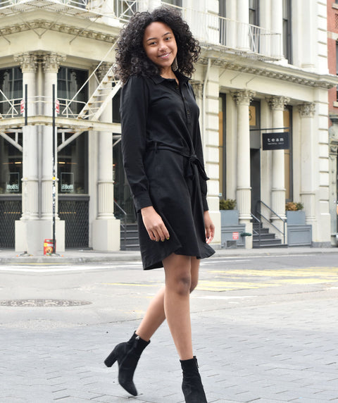 MEGAN shirtdress in Black