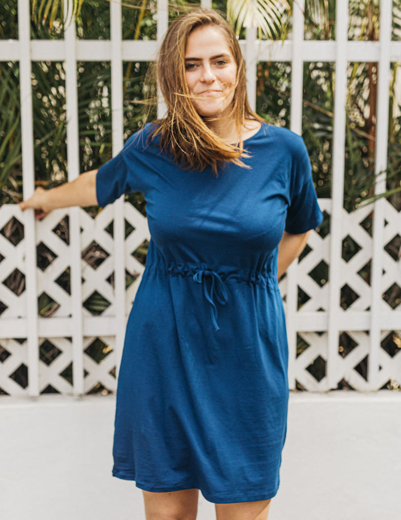 SIENNA tunic dress in Navy Peony