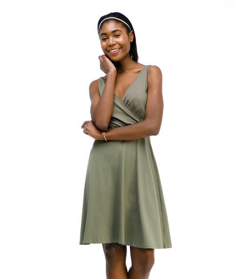 The NORA dress in Olive