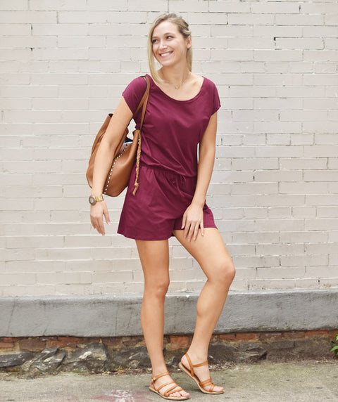 The HAVEN romper in Deep Currant