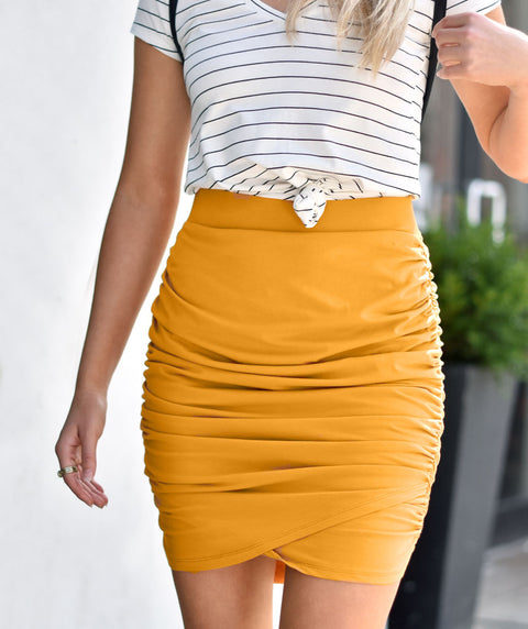 OPHELIA ruched skirt in Mustard