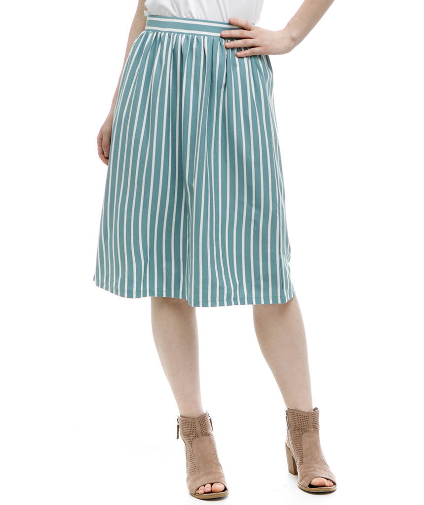 SHELBY below-knee skirt in Pacific Stripe