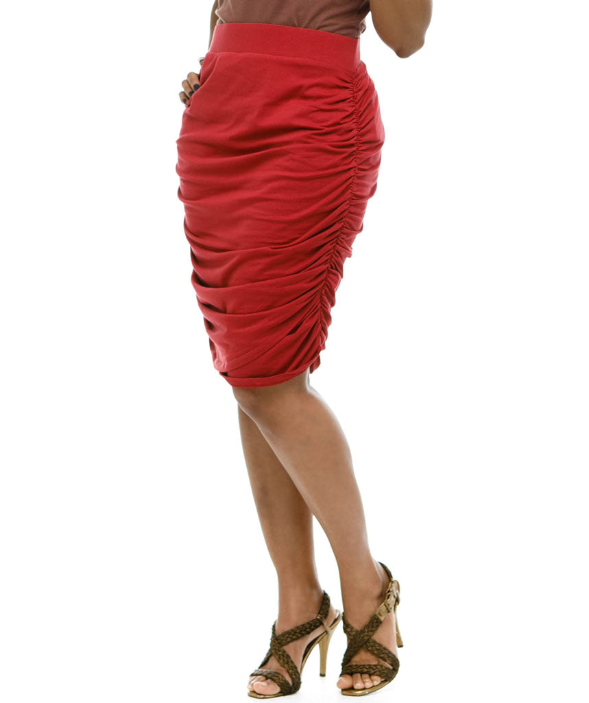OPHELIA ruched skirt in Auburn Red