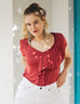 KELSEY double ruffle tee in Red Spice