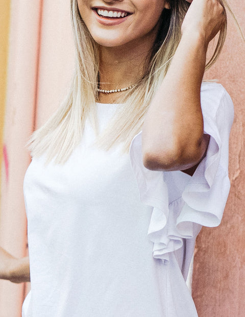 The KARA flutter sleeve relaxed top in White