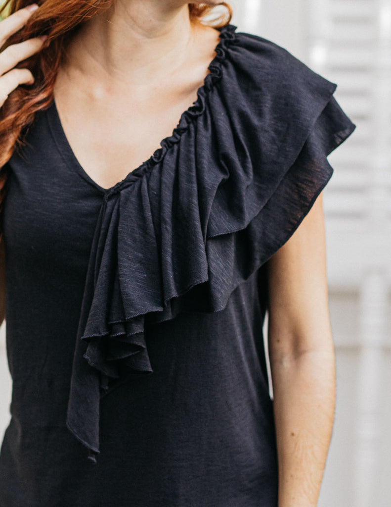 KELSEY double ruffle tee in Black