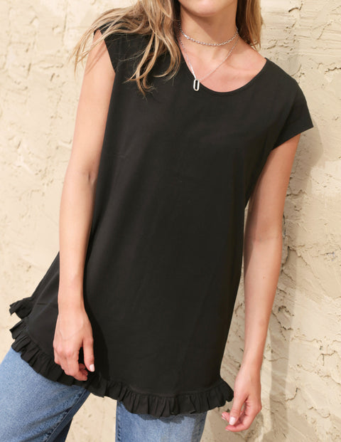 LENA ruffle hem tunic in Black