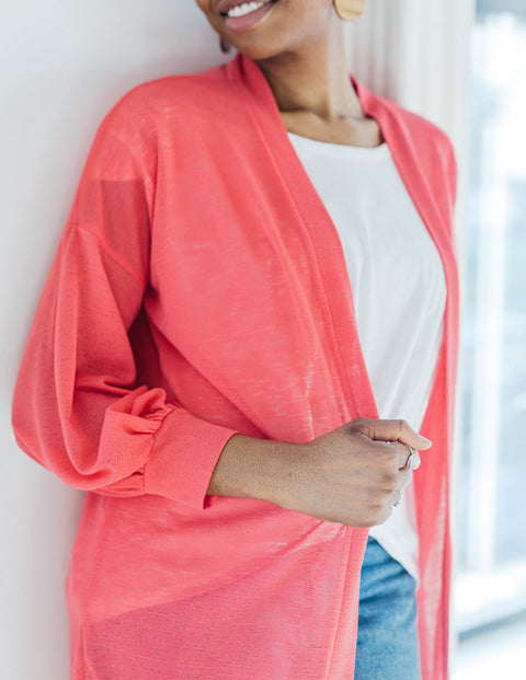 The WREN bishop sleeve lightweight duster in Coral