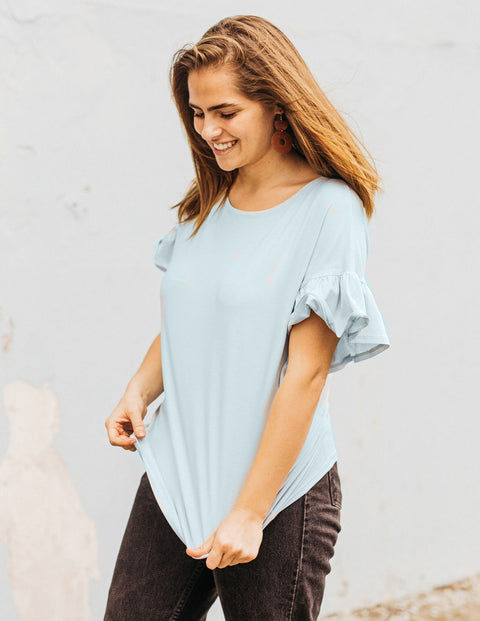 The KARA flutter sleeve relaxed top in Ballad Blue