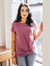 SITA twist front tee in Mulberry