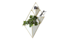 TRIGG WALL VESSEL LARGE - WHITE/BRASS