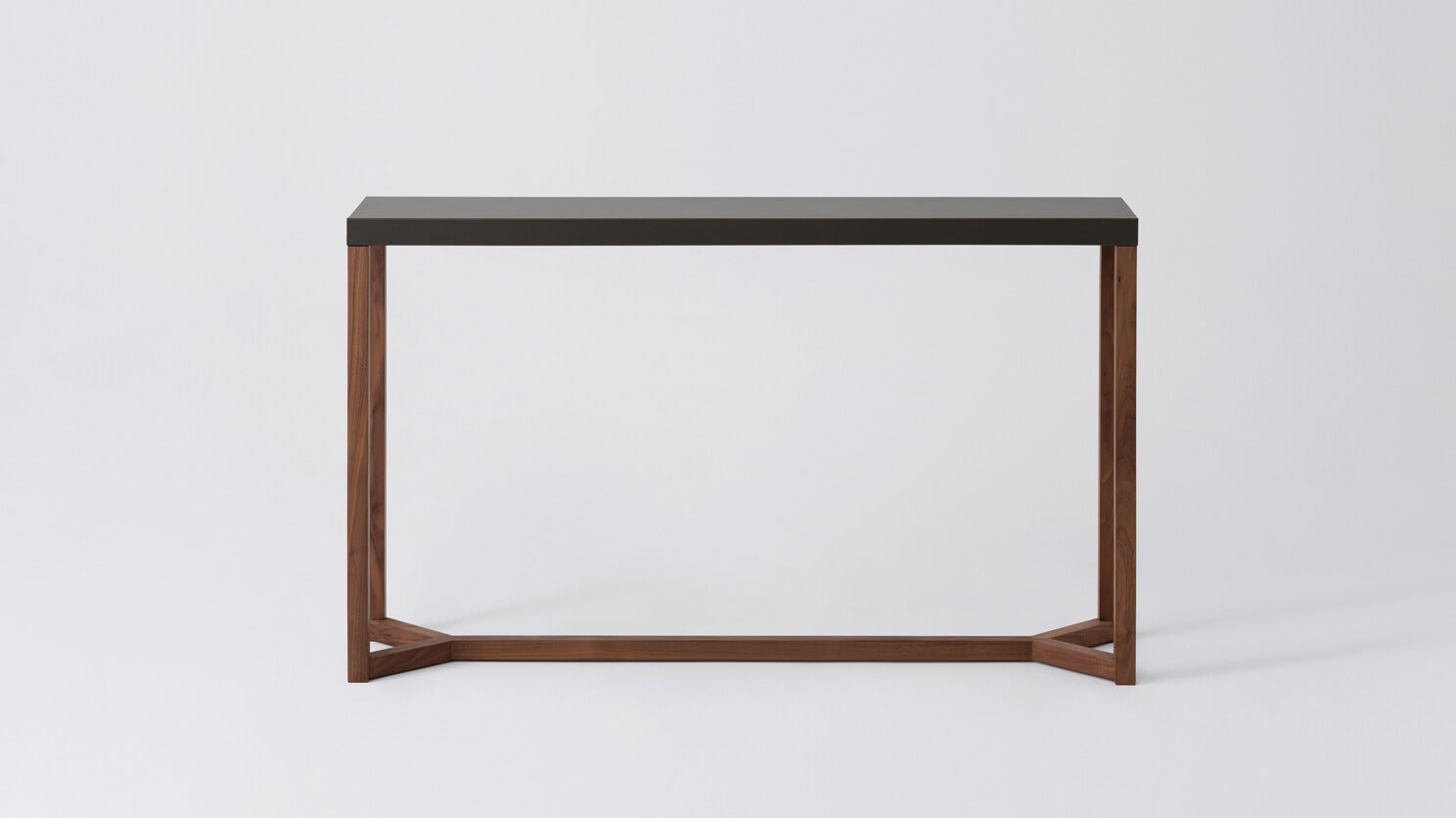 trivia console table (charcoal/walnut)