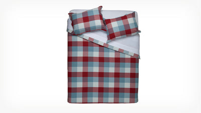 plaid duvet set (red/blue)
