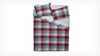 plaid duvet set - red/blue