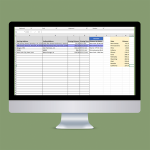 IFTA Miles Excel Distance Calculator