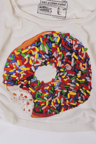Crop Top Shirt Sprinkled Donut Womens