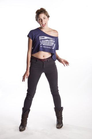 The Yummies Logo Womens Shirt (White on Blue)