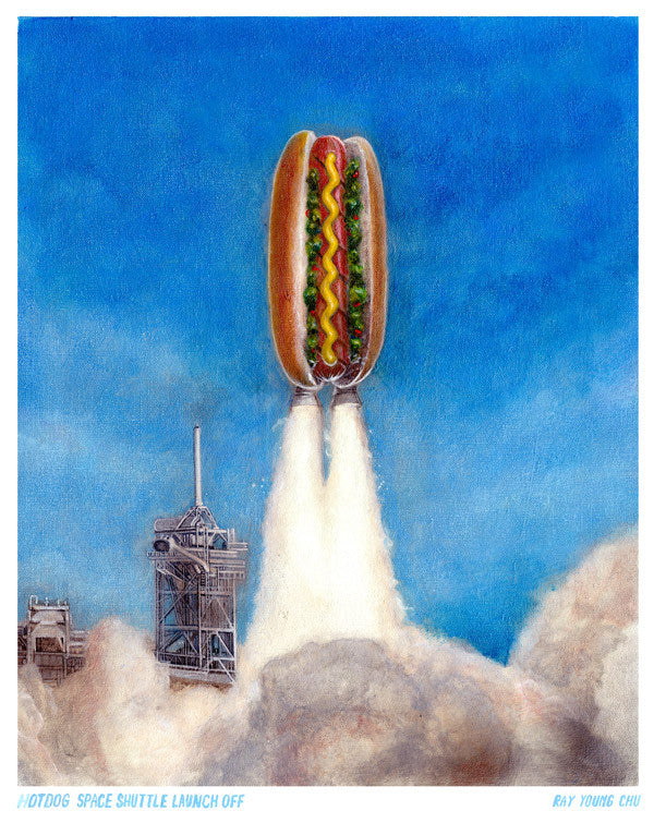"Hotdog Space Shuttle Launchoff 8.5 x 11"" Print"