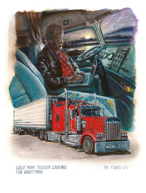 "Wolf Man Trucker Looking for Directions 8.5 x 11"" Print"