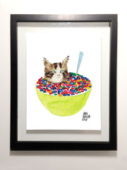 "Cereal Killer Cat with Cataracts 8.5 x 11"" Print"
