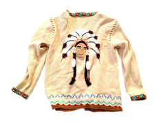 Storybook Knits Medium Sweater Native American Indian Beaded Feather Themed