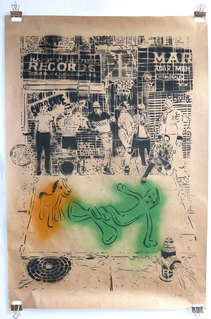 "Happy Records 24 x 36"" Original Stencil Painting on Paper"