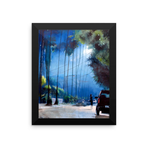 Woman Walking in the Night Framed Print