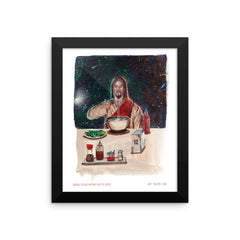 Asian Jesus Eating Phở in Space Framed Print
