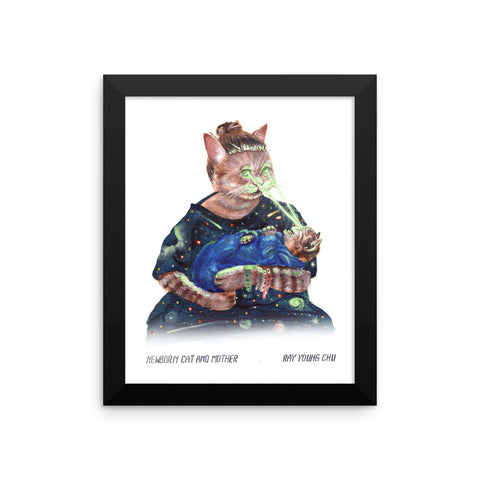 Newborn Cat and Mother Framed Print