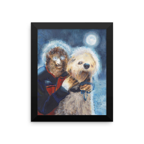 Wolf Man and his Dog Framed Print