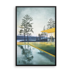 Yellow House with Pool Framed Print
