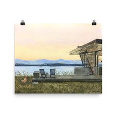 House with Lake Print