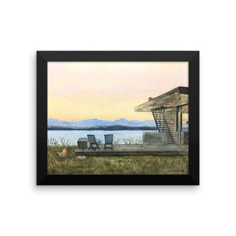 House with Lake Framed Print