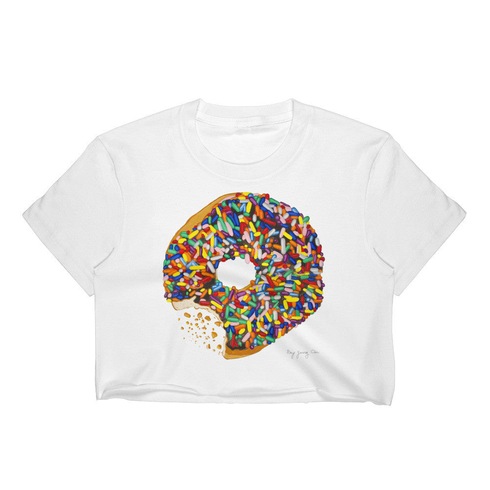 Crop Top Shirt Sprinkled Donut (Various Colors) Womens