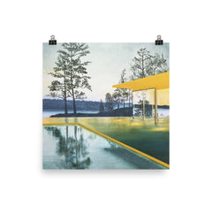 Yellow House with Pool Print