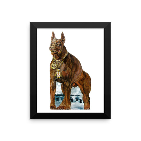 Red Doberman Male with Gold Chain and Grill Framed Print