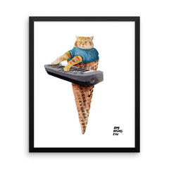Keyboard Cat Cone Framed Print